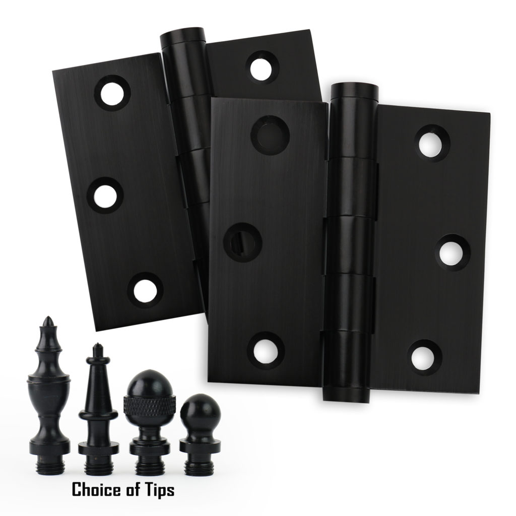 Door Hinges 3x3 Solid Brass Matte Black Baldwin Estate Comparable Architectural Grade
