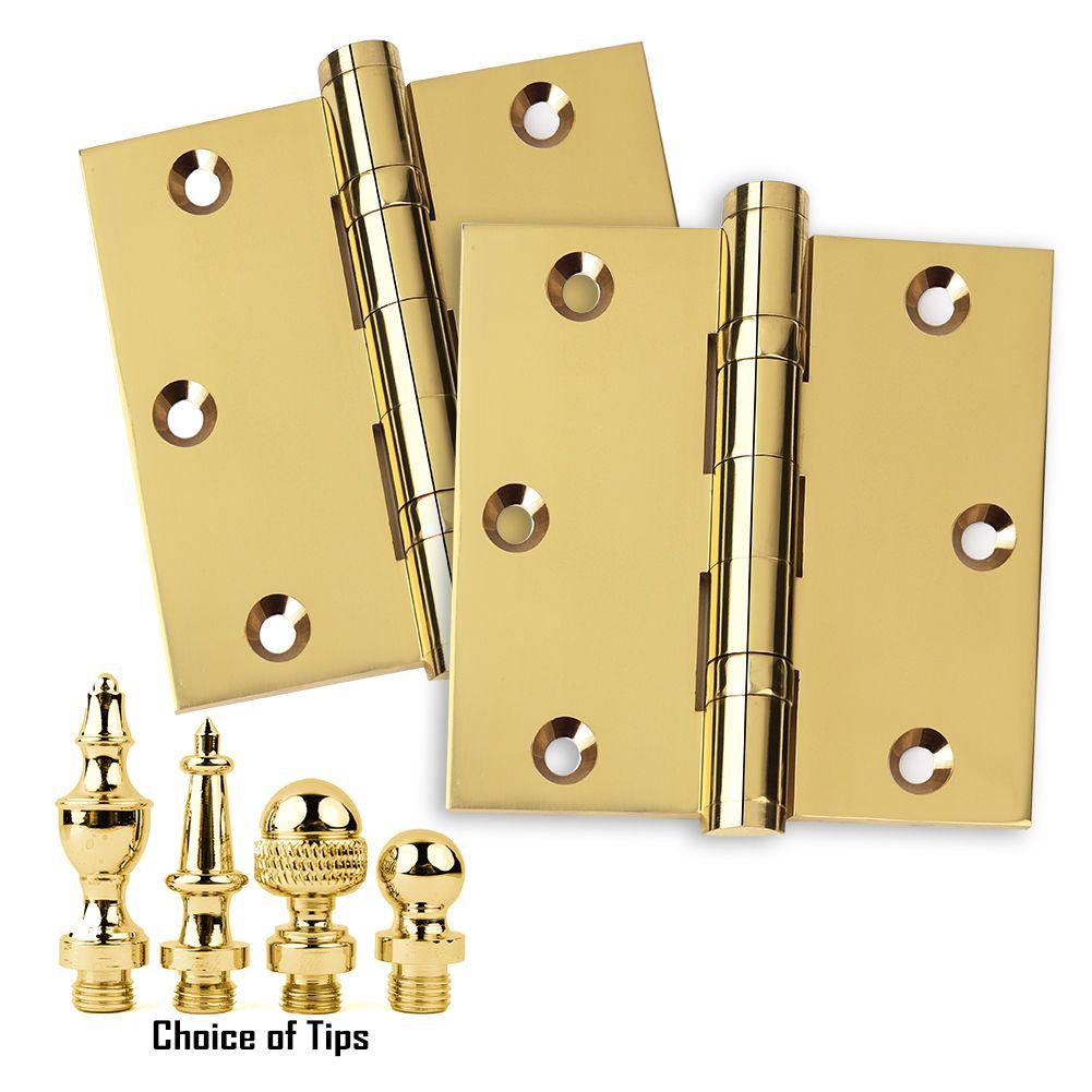 Door Hinge 3 5x3 5 Solid Brass Ball Bearing Polished Brass