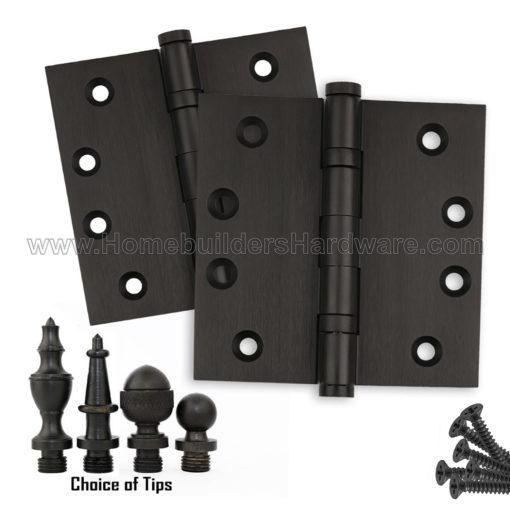 4 X Inch Oil Rubbed Bronze Door Hinges Ball Bearing Flat Finials Tips
