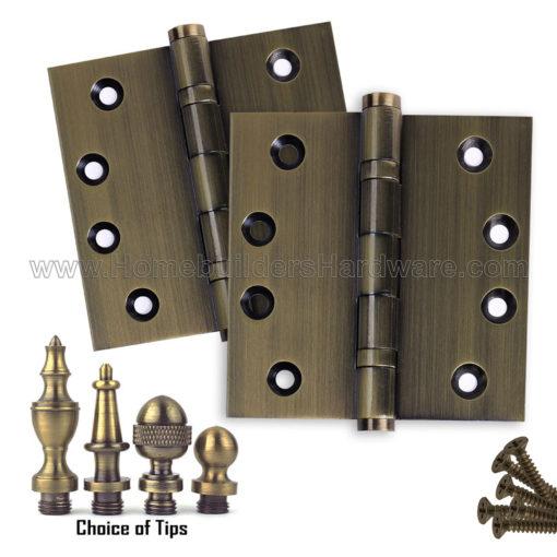 Merveilleux 4 X 4 Inch Antique Brass Ball Bearing Door Hinges Finials Tips