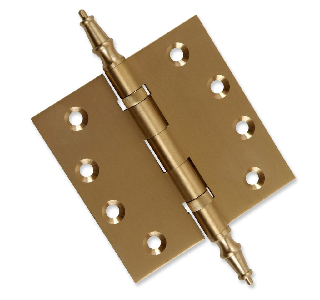 Door Hinges 4 x 4 Solid Brass Ball Bearing Polished Nickel With Tips Set of 3