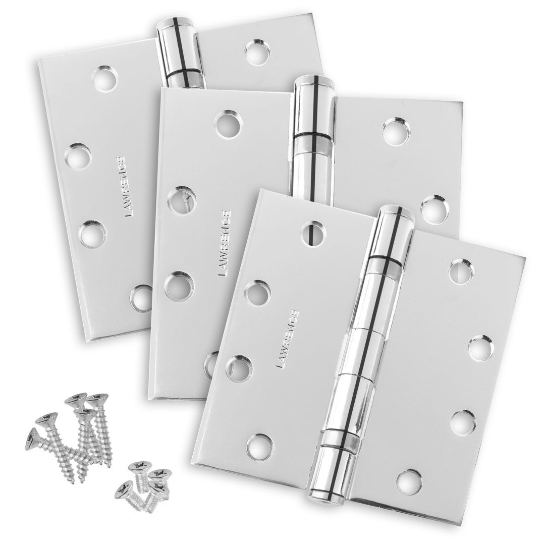 3 Pack Lawrence Hardware Standard Weight Butt Hinge Commercial Door Hinges Brushed Chrome, Ball Bearing 4.5 x 4.5