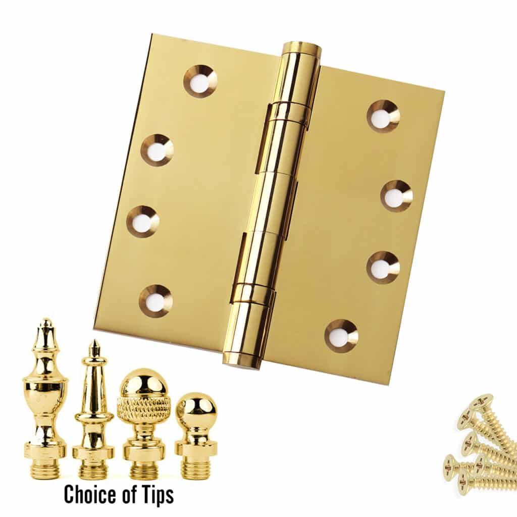 Door Hinge 4 x 4 Solid Brass Ball Bearing Polished Chrome With Tips