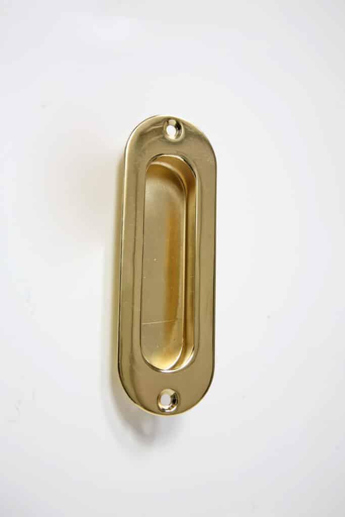 Oval Pocket Door Flush Pull  Solid Brass Beaded